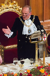 © Licensed to London News Pictures. 13/11/2017. London, UK.  Lord Mayor CHARLES BOWMAN makes a speech at the annual Lord Mayor's Banquet at Guildhall. Photo credit: Ray Tang/LNP