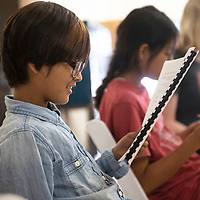 """Samiyah Crowfoot, 8, reads her lines during a rehearsal of """"Taming of the Shrew,"""" Thursday, June 6 at Gallup Repertory Theater's Children's Theater Camp."""