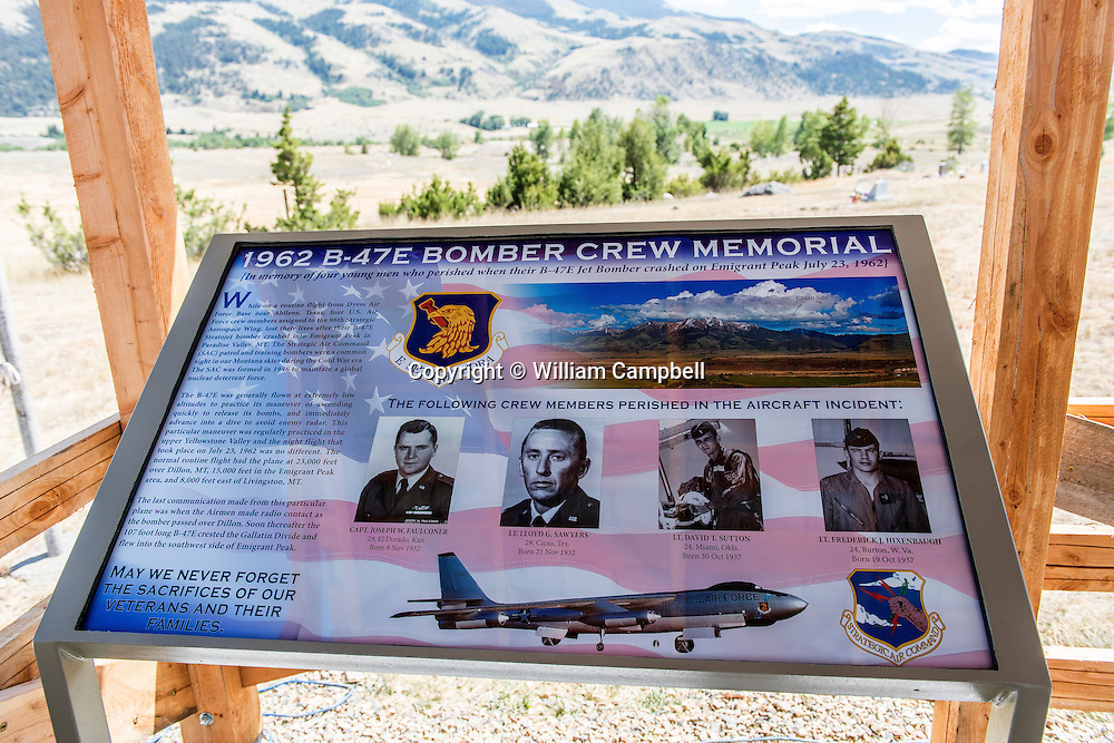 Memorial at old Chico for a SAC B-47 bomber that crashed at the 8,300 foot level of Emigrant Peak near Livingston, MT on the night of July 23, 1962. . The B47 was on a  nighttime cold war training flight from Dyess Air Force base in Texas. Four airman lost their lives in the crash.