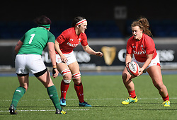 Wales' Lleucu George<br /> Wales Women v Ireland Women<br /> Guinness Six Nations 2019<br /> Cardiff Arms Park<br /> <br /> Photographer Mike Jones/Replay Images<br /> <br /> Guinness Six Nations 2019<br /> Cardiff Arms Park<br /> Cardiff.<br /> 17th March 2019<br /> <br /> World Copyright © Replay Images . All rights reserved. info@replayimages.co.uk - http://replayimages.co.uk