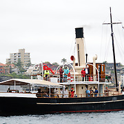 The historic steam ship Waratah as a spectator craft at the start of the 2009 Rolex Sydney to Harbour Yacht Race in Sydney Harbour