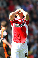 Fotball<br /> England<br /> Foto: Colorsport/Digitalsport<br /> NORWAY ONLY<br /> <br /> Charlton's Chinese player Zheng Zhi holds his head after his shot goes wide<br /> Charlton Athletic vs Blackpool at The Valley, Charlton.<br /> Coca Cola Championship. 18/04/2009