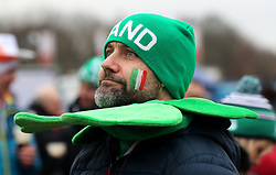 An Ireland fan shows his support prior to the NatWest 6 Nations match at Twickenham Stadium, London.