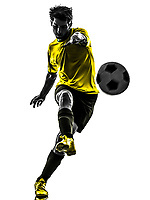 one Brazilian soccer football player young man kicking in silhouette studio on white background