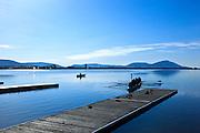 USA, Oregon, Klamath Falls, crew headed out for moning rowing training on Lower Klamath Lake