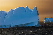 Golden early morning light on the way to Antarctica, sailing by the South Orkney Islands, Icebergs are grounded melting into wonderful shapes, and come in all shades of blue, white, and green.
