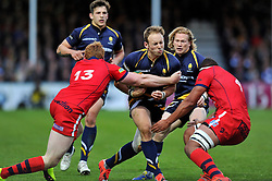 Chris Pennell of Worcester Warriors takes on the Bristol Rugby defence - Photo mandatory by-line: Patrick Khachfe/JMP - Mobile: 07966 386802 27/05/2015 - SPORT - RUGBY UNION - Worcester - Sixways Stadium - Worcester Warriors v Bristol Rugby - Greene King IPA Championship Play-off Final (Second leg)