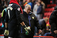 Leeds United manager Steve Evans not looking particularly impressed after a goalless first half during the Sky Bet Championship match between Charlton Athletic and Leeds United at The Valley, London, England on 12 December 2015. Photo by Matthew Redman.