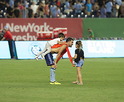 August 20, 2017 - New York, New York, United States - David Villa (7) of NYC FC & his children Luca and Olaya celebrate after regular MLS game against New England Revolution on Yankee stadium NYC FC won 2 - 1  (Credit Image: © Lev Radin/Pacific Press via ZUMA Wire)