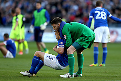 Mark Gillespie of Carlisle United helps Danny Grainger of Carlisle United up onto his feet - Mandatory by-line: Robbie Stephenson/JMP - 14/05/2017 - FOOTBALL - Brunton Park - Carlisle, England - Carlisle United v Exeter City - Sky Bet League Two Play-off Semi-Final 1st Leg