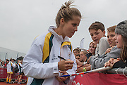 Ashleigh Nelson signs some autographs after their match against the USA in the Investec Hockey World League Semi Final 2013, the Quintin Hogg Memorial Sports Ground, University of Westminster, London, UK on 27 June 2013. Photo: Simon Parker