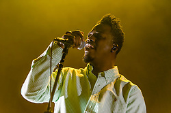 © Licensed to London News Pictures. 12/02/2014. London, UK.   Bipolar Sunshine performing live at Brixton Academy, supporting headliner Phoenix. Bipolar Sunshine is the solo project of Manchester-based Adio Marchant, ex-vocalist of Kid British.   Photo credit : Richard Isaac/LNP