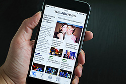 The Times online digital newspaper app on Iphone 6 plus smart phone