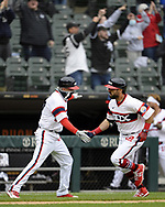 CHICAGO - APRIL 11:  Adam Eaton #12 of the Chicago White Sox celebrates after hitting a two-run home run in the eighth inning against the Kansas City Royals on April 11, 2021 at Guaranteed Rate Field in Chicago, Illinois.  (Photo by Ron Vesely) Subject:  Adam Eaton