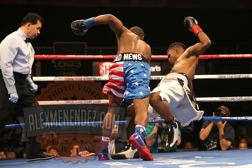 VERONA, NY - JUNE 09:  Charles Conwell (L) knocks down Jeffrey Wright during a ShoBox boxing match at the Turning Stone Resort Casino on June 9, 2017 in Verona, New York. (Photo by Alex Menendez/Getty Images) *** Local Caption *** Charles Conwell; Jeffrey Wright