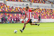 PENALTIES Brentford forward Ivan Toney (17) makes it 1-0 on penalties during the EFL Cup match between Brentford and Wycombe Wanderers at Brentford Community Stadium, Brentford, England on 6 September 2020.