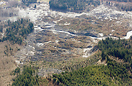 The cliff that collapsed (lower) into a massive mudslide that destroyed Oso (top), Washington is seen covered with felled trees March 31, 2014. Recovery teams struggling through thick mud up to their armpits and heavy downpours at the site of the devastating landslide in Washington state are facing yet another challenge - an unseen and potentially dangerous stew of toxic contaminants. REUTERS/Rick Wilking (UNITED STATES)