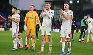 Sheffield United's George Baldock, goalkeeper Dean Henderson, Oliver McBurnie and John Egan celebrate after the Premier League match at Selhurst Park, London. Picture date: 1st February 2020. Picture credit should read: Paul Terry/Sportimage