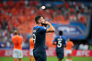 Olivier Giroud (FRA) scored a goal and celebrated it to it wife and supporters and president Emmanuel Macron during the UEFA Nations League, League A, Group 1 football match between France and Netherlands on September 9, 2018 at Stade de France stadium in Saint-Denis near Paris, France - Photo Stephane Allaman / ProSportsImages / DPPI