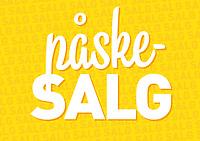 Typografisk salgsplakat med norsk tekst «påskesalg» i forgrunnen og gjentakende «salg» i bakgrunnen. Hvit tekst mot gul bakgrunn.