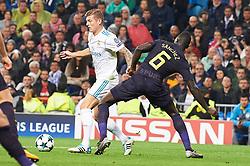 UEFA Champions League match between Real Madrid and Tottenham Hotspur at Santiago Bernabeu on October 17, 2017 in Madrid. 17 Oct 2017 Pictured: Davinson Sanchez (defender; Tottenham Hotspur), Toni Kroos (midfielder; Real Madrid). Photo credit: Jack G / MEGA TheMegaAgency.com +1 888 505 6342