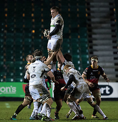 Glasgow Warriors' Adam Ashe claims the lineout<br /> <br /> Photographer Simon King/Replay Images<br /> <br /> Guinness PRO14 Round 14 - Dragons v Glasgow Warriors - Friday 9th February 2018 - Rodney Parade - Newport<br /> <br /> World Copyright © Replay Images . All rights reserved. info@replayimages.co.uk - http://replayimages.co.uk
