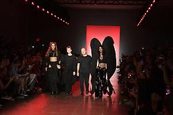 September 12, 2018 - New York, New York, U.S - September, 2018 - New York, New York  U.S. - PARIS HILTON, designer EMILIA PFOHL, TEYANA TAYLOR and designer NAN LI  on the runway at the NAMILIA S/S 2019 RTW show during New York Fashion Week 2018.  (Credit image (c) Theano Nikitas/ZUMA Wire/ZUMAPRESS.com (Credit Image: © Theano Nikitas/ZUMA Wire)