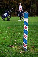 HEERENVEEN - Golfbaan-  150 meter paaltje met pompeblêden van Golfclub Heidemeer in Heerenveen. COPYRIGHT KOEN SUYK