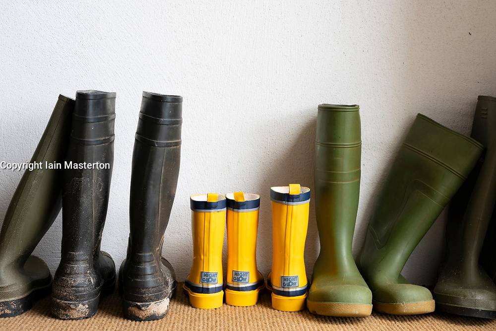 Row of wellington boots in a house
