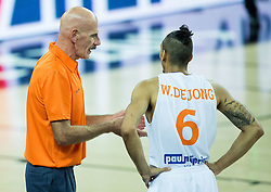Toon van Helfteren, head coach of Netherlands with Worthy de Jong of Netherlands during basketball match between Netherlands and Macedonia at Day 2 in Group C of FIBA Europe Eurobasket 2015, on September 6, 2015, in Arena Zagreb, Croatia. Photo by Vid Ponikvar / Sportida