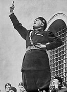 Benito Mussolini (1883-1945) - 'Il Duce' - Italian fascist dictator addressing fascist youths on the occasion of the calling up of the conscripts of the 1911 class, about 560,000 individuals.