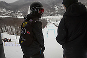 Rowan Coultas, with coach Jack Shackleton, during practice runs of the snowboard slopestyle finals of the FIS World Cup on 12th February 2017 in Stoneham Mountain, Canada. The Canadian Jamboree is part of the ski and snowboard FIS World Cup circuit held in Quebec City and Stoneham Mountain.