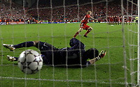 Photo: Paul Thomas.<br /> Liverpool v Chelsea. UEFA Champions League. Semi Final, 2nd Leg. 01/05/2007.<br /> <br /> Dirk Kuyt of Liverpool beats the Chelsea keeper Petr Cech to seal a final place in Athens.