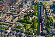 Nederland, Utrecht, Utrecht, 13-05-2019; Lombok met Leidsekade en Leidseweg, molen De Ster. Gebouwd als arbeiderswijk, nu  multiculturele wijk.<br /> Multicultural neighborhood, near Utrecht Central Station.<br /> <br /> luchtfoto (toeslag op standard tarieven);<br /> aerial photo (additional fee required);<br /> copyright foto/photo Siebe Swart