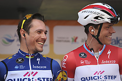 February 14, 2018 - Lagos, Portugal - Philippe Gilbert and -Bob Jungels of Quick-Step Floors before the 1st stage of the cycling Tour of Algarve between Albufeira and Lagos, on February 14, 2018. (Credit Image: © Str/NurPhoto via ZUMA Press)