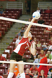 25 SEP 2005<br /> <br /> Illinois State Redbirds Emily Kabbes is left all alone for an easy spike for point.<br /> <br /> The Creighton Bluejays failed to win a single game as the Illinois State Redbirds won 3 in a row to settle the match.  Play took place at Redbird Arena on the campus of Illinois State University in Normal IL.