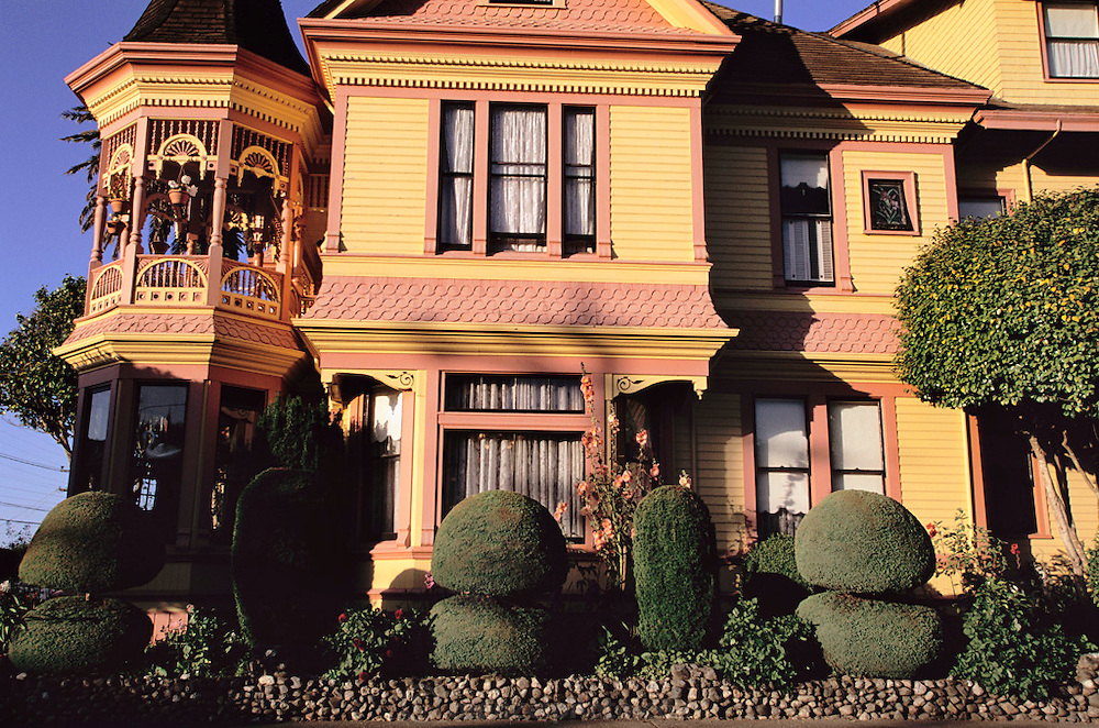 A traditional Victorian home in Ferndale, California (near Arcata and Eureka, northern California.). In the late 1800s, during the Victorian architectural period, Ferndale blossomed as the agricultural center of Northern California. The prosperous dairy industry provided the economic base for Ferndale, and the blend of agriculture and architecture resulted in the town's splendidly ornate buildings, known as 'Butterfat Palaces.'