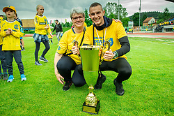 Almin Kurtovic with his mother during celebration of NK Bravo, winning team in 2nd Slovenian Football League in season 2018/19 after they qualified to Prva Liga, on May 26th, 2019, in Stadium ZAK, Ljubljana, Slovenia. Photo by Vid Ponikvar / Sportida