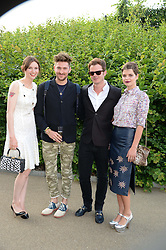 Left to right, SOPHIE ELLIS-BEXTOR, HENRY HOLLAND, RICHARD JONES and PIXIE GELDOF at the Fashion Rules Exhibition Opening at Kensington Palace, London W8 on 4th July 2013.