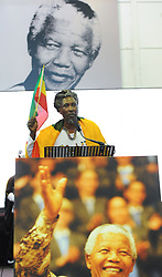 The City of Cape Town hosted an Evening of Remembrance at the OR Tambo hall, Khayelitsha. for the late former President of South Africa, Nelson Mandela. Rastafarian CONGO ENOCH, addresses the crowd, South Africa  Monday, 9th December 2013. Picture by Roger Sedres / i-Images