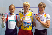 2005 FISA World Cup, Dorney Lake, Eton, ENGLAND, 28.05.05. Women's single medals left to right Silver medal Mirka Knapkova CZE W1X, Gold medallist Ekaterina Karsten BLR W1X, and bronze medallist Kathrin Boron GER W1X..Photo  Peter Spurrier. .email images@intersport-images...[Mandatory Credit Peter Spurrier/ Intersport Images] , Rowing Courses, Dorney Lake, Eton. ENGLAND