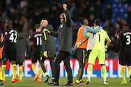 Pep Guardiola, the Manchester City manager celebrates towards the Man city fans after the final whistle.Premier League match, Crystal Palace v Manchester city at Selhurst Park in London on Saturday 19th November 2016. pic by John Patrick Fletcher, Andrew Orchard sports photography.