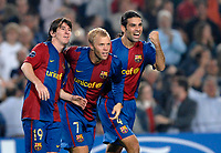 Photo: Richard Lane.<br /> Barcleona v Chelsea. UEFA Champions League, Group A. 31/10/2006. <br /> Barcelona's Eidur Gudjohnsen (c) celebrates his goal.