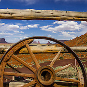 USA, West, Southwest, AZ, UT, Arizona, Utah, Navajo Reservation, Monument Valley, View of Monument Valley from venerable Goulding's Trading Post, Monument Valley Tribal Park of the Navajo Nation, AZ.