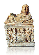Etruscan Hellenistic style cinerary, funreary, urn ,  National Archaeological Museum Florence, Italy , white background .<br /> <br /> If you prefer to buy from our ALAMY PHOTO LIBRARY  Collection visit : https://www.alamy.com/portfolio/paul-williams-funkystock - Scroll down and type - Etruscan Florence - into LOWER search box. (TIP - Refine search by adding a background colour as well).<br /> <br /> Visit our ETRUSCAN PHOTO COLLECTIONS for more photos to download or buy as wall art prints https://funkystock.photoshelter.com/gallery-collection/Pictures-Images-of-Etruscan-Historic-Sites-Art-Artefacts-Antiquities/C0000GgxRXWVMLyc