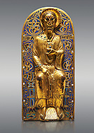 Medieval relief panel depicting Christ, Enamel on gold from Limoges, circa 1220-1230. Inv OA 11935, The Louvre Museum, Paris. .<br /> <br /> If you prefer you can also buy from our ALAMY PHOTO LIBRARY Collection visit : https://www.alamy.com/portfolio/paul-williams-funkystock/limoges-enamel-antiquities.html Type - louvre - into the LOWER SEARCH WITHIN GALLERY box. <br /> <br /> Visit our MEDIEVAL ART PHOTO COLLECTIONS for more photos to download or buy as prints https://funkystock.photoshelter.com/gallery-collection/Medieval-Gothic-Art-Antiquities-Historic-Sites-Pictures-Images-of/C0000gZ8POl_DCqE