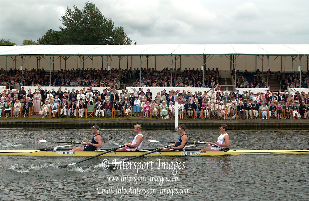2005 Henley Royal Regatta, Henley on Thames, ENGLAND. 03.07.205  .Sunday Finals day - second session,  Leander and Oxford University [GRB M4-] rowing through the Stewards enclosure, as they win the final of the 'Stewards Challenge Cup'  left to right Andy Twiggs-Hodge, Alex Partridge, Peter Reed and Steve Williams, Peter Spurrier.  email images@intersport-images[Mandatory Credit Peter Spurrier/ Intersport Images] . HRR.