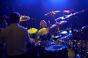 Drummer Matt Letley and blonde Rick Parfitt of Status Quo play on stage during on European tour at at L'Aeronef, Lille, France.