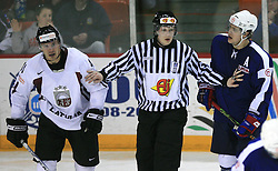 Raitis Ivanans, referee and Anze Kopitar at ice-hockey match Slovenia vs Latvia at Preliminary Round (group B) of IIHF WC 2008 in Halifax, on May 06, 2008 in Metro Center, Halifax, Nova Scotia, Canada. Latvia won 3:0. (Photo by Vid Ponikvar / Sportal Images)Slovenia played in old replika jerseys from the year 1966, when Yugoslavia hosted the World Championship in Ljubljana.