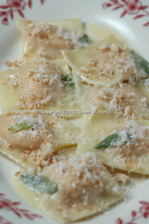 Lucia restaurant's Ravioli di zucca - winter squash ravioli with sage, butter, and crushed amaretti on Dec. 15, 2010 at 408 W. 8th. St., in the Bishop Arts District of Dallas' Oak Cliff neighborhood.